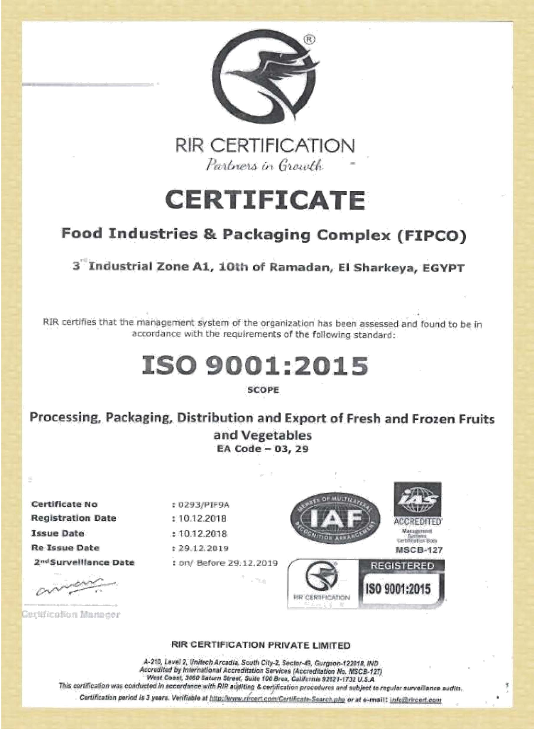 CERTIFICATES ISO-3